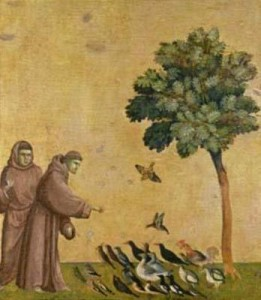 St. Francis Assisi preaching to birds