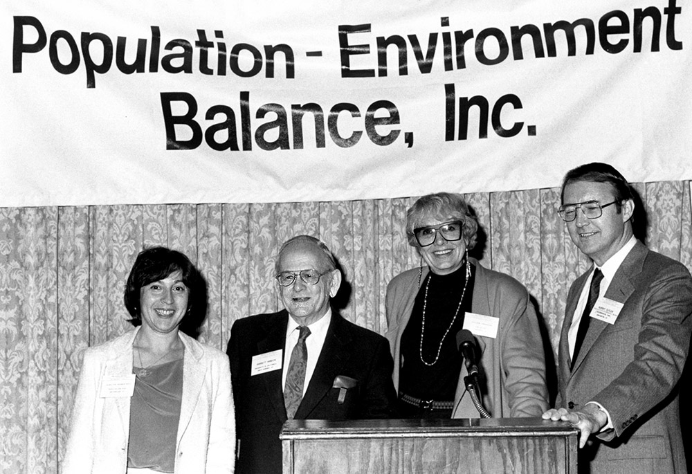From L-R: Judy Kunofsky, president Zero Population Growth 1977-1980; Garrett Hardin; Helen Graham, president Californians for Population Stabilization; M. Rupert Cutler, Executive Director Pop. Env. Balance 1983-1987. All the organizations represented here have been funded at some point in time by John Tanton.